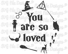 Harry Potter You Are So Loved Hedwig Patronus Wand Scar Decal Cutting File / Clipart in Svg, Eps, Dxf, Png, Jpeg for Cricut and Silhouette