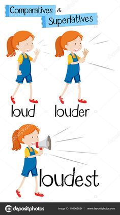 Comparatives and superlatives of word loud illustration Stock . Teaching English Grammar, English Vocabulary Words, Learn English Words, English For Beginners, English Lessons For Kids, Toddler Learning Activities, Teaching Kids, Education English, Kids Education