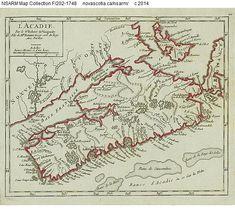 'L'Acadie' map of Acadia 1748 - Historical Maps of Nova Scotia Old World Maps, Old Maps, Vintage Maps, Antique Maps, Historical Maps, Historical Pictures, Oak Island Nova Scotia, Acadie, Canadian History