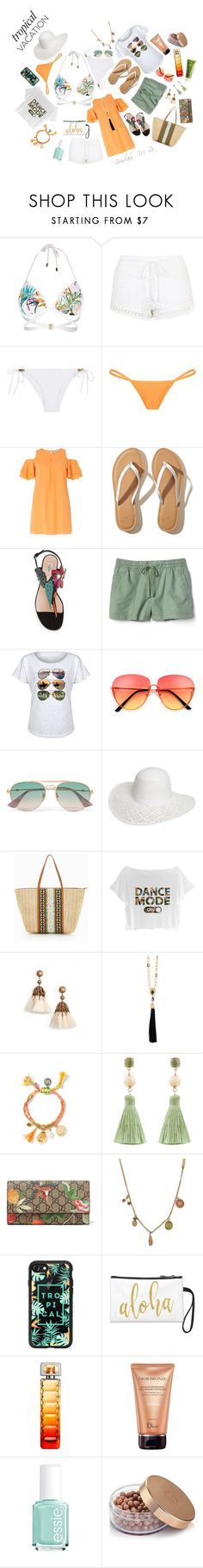 """""""Vacation Time #2"""" by borislava-zo3bi ❤ liked on Polyvore featuring River Island, Topshop, Heidi Klein, Dorothy Perkins, Hollister Co., Gap, Board Life, Gucci, ALDO and Loren Hope"""