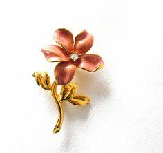 Joan Rivers Pink Enamel Flower Pin Brooch Vintage Designer Jewelry Gift for Mom