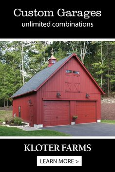This 24x28 custom garage includes carriage style overhead doors, custom trim box above overhead doors, taller walls, double loft door with transom windows above, cupola & weathervane. Need a garage or workspace? Bring your ideas and we'll build it for you! #kloterfarms #buildings #garages Loft Door, Garage Loft, Car Garage, Garage Apartment Plans, Garage Apartments, Shed Design, Garage Design, L Shaped Stairs, Shed Cabin