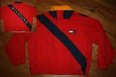 Vintage Tommy Hilfiger Sailing Gear Boating hooded Jacket Coat-2XL-colorblock