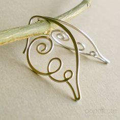 Jewelry Wire Handmade Angel Wing Earrings in 20 gauge - Argentium Silver Hoops - Wire Wrapped Jewelry, Metal Jewelry, Silver Jewelry, Silver Ring, Hanging Jewelry, Dainty Jewelry, Jewelry Wall, Luxury Jewelry, Crystal Jewelry