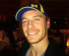 Fassy in a Michigan hat! Go Blue!