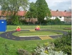 Race track for the kids outside for Cars theme