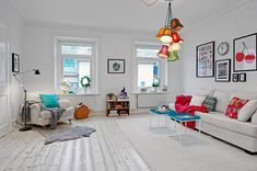Chic Apartment Interior in Colorful Accent: Awesome Scandinavian Apartment Design Living Room With Minimalist Traditional Sofa Used White Fabric Sofa And Colorful Pendant Lighting Design ~ CLAFFISICA Apartment Inspiration Scandinavian Apartment, Scandinavian Interior Design, Scandinavian Home, Interior Design Blogs, Interior Design Inspiration, Design Ideas, Daily Inspiration, Apartment Interior, Apartment Design