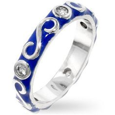 BLUE ENAMEL RING SIZES 5-10 With Clear CZ Toltec Trading Company. $18.00
