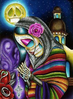 Pray For Us by Dave Sanchez Religious Skeleton Woman Canvas Art Print – moodswingsonthenet