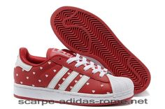 new arrival a957d 71d98 Superstar 2 Adidas Donna Heart Print Rosse Bianche Casual Scarpe (Adidas  Nuove)