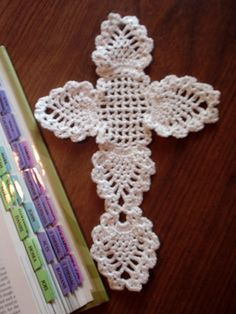 White Lacy Crocheted Cross Bookmark/ Wall Hanging by KellysGifts, $5.00