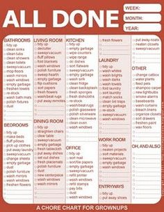 Free downloadable household chore chart