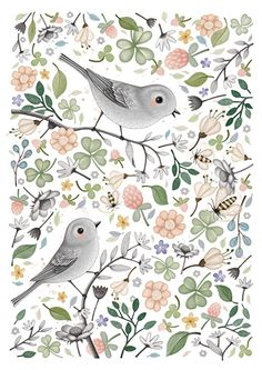 Snow and Rose 'A3 Poster Bumblebirds'