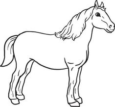 Running horse pattern. Use the printable outline for