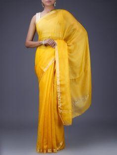 Yellow Kota Silk Saree with Zari Border