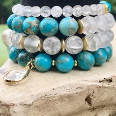 Turquoise and Cracked Crystal Jasper with Gold Accents
