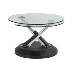 Modesto Metal and Glass Swivel Cocktail Table ($390) ❤ liked on Polyvore featuring home, furniture, tables, accent tables, black, swivel coffee table, black cocktail table, glass coffe table, black metal coffee table and extendable coffee table