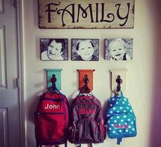 Photos are both decorative and an effective way of helping younger kids remember which hook is for their backpack.