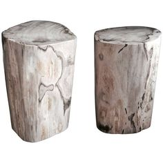 Pair of Polished Petrified Wood Tables or Stools (227.885 RUB) ❤ liked on Polyvore