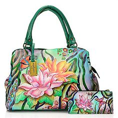 Anuschka Hand-Painted Leather Double Handle Satchel w/ Organizer Wallet