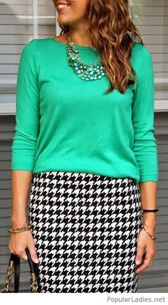 Awesome green blouse and plaid skirt