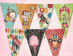 Vintage CIRCUS BIRTHDAY Party Banner
