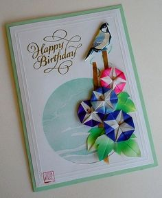 Paper Greeting Card 3 Photos | Origami Morning Glory and Bird | 423