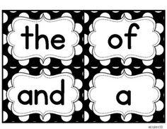 LARGE Black and White Polka Dot Word Wall Words {Editable}