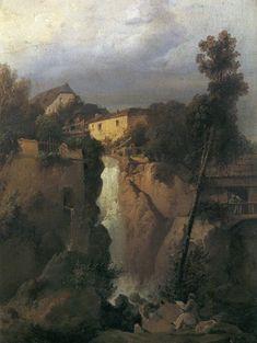 Josef Matěj Navrátil - Vodopád ve vesnici (po 1840)
