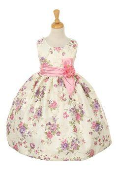 Flower Girl dresses # : Classy Flower-Printed Jacquard Dress w/ Satin Bow & Flower Girl Dress Coral Flower Girl Dresses, Dress Flower, Dress P, Dress Outfits, Flower Girls, Toddler Dress, Toddler Outfits, Jacquard Dress, Easter Dress