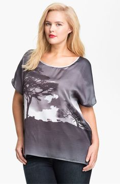 Pleione Graphic Print Asymmetrical Top (Plus) available at #Nordstrom