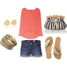 Spring Casual--Cute bag and shirt and bangles and shoes and earrings... So pretty much the entire outfit