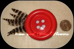 Cute as a Button  Red Feather  Hair Clip2 and by Emmandjensflowers, $5.50