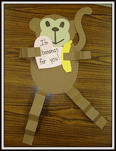 Monkey Valentine Craft - Plus LOTS of teacher crafts on this site.