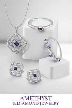 Gemstone Spotlight Series - Amethyst - The essence of the color purple, amethyst is beautiful enough for crown jewels yet affordable enough for class rings. #QualityGold #GemstoneJewelry #Gemstones #AmethystJewelry #Amethyst #jewelry Amethyst Jewelry, Birthstone Jewelry, Diamond Jewelry, Gemstone Jewelry, Gold Jewelry, Jewelery, Jewelry Accessories, 925 Silver, Silver Rings