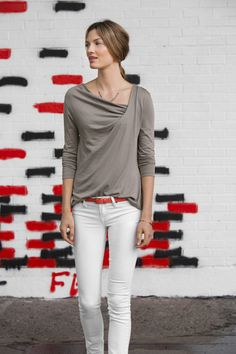 Lilla P 3/4 sleeve twist front top. i'd like one in every color.