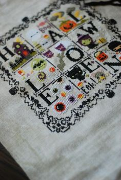 Halloween cross-stitch sampler/The Frosted Pumpkin Stitchery