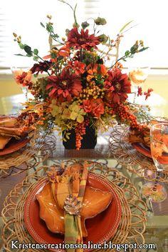 setting the Autumn table   ~ Kristen's Creations