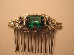 EMERALD GREEN Rhinestone Sterling Silver OX Hair comb Filigree Flower vintage inspired octagon  czech Rhinestone Wedding Bridal Bridesmaid. $32.00, via Etsy.