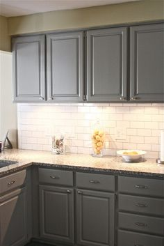Kitchen, : Lovely Kitchen Decoration With Cream Granite Counter Tops Along With White Tile Kitchen Backsplash And Grey Kitchen Cabinet