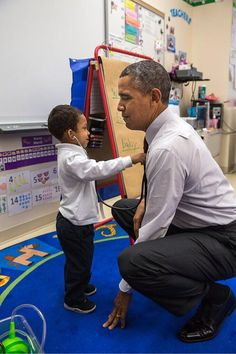 A young student uses a stethoscope on President Obama at Powell Elementary School in DC today. petesouza