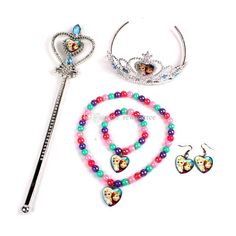 Frozen Princess Imperial Crown+Magic Wand+Necklace+Bracelet+Earrings Elsa Anna Cartoon Sets Kids Children Holiday Christmas Gifts
