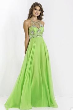 Charming A-line Halter Beading Crystal Detailing Floor-length Chiffon Prom Dresses/Special occasion dresses/ Formal dresses