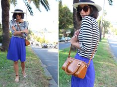Stripes + bright blue + cross body bag
