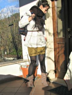 Winter, white wool jumper, camel skirt, wool scarf, boots, backpack