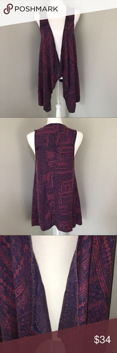 """NWT UO Ecote Hand Dyed Waterfall Vest This hand dyed vest is gorgeous. Draped front in pretty purple, blue and red colors. Material - 100% Rayon. Approximate Measurements - Armpit to armpit 17"""" Armpit to hem 21"""".  T7 Urban Outfitters Tops"""