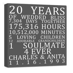 20th Anniversary Gift, 20 Year Wedding Anniversary, Anniversary ...