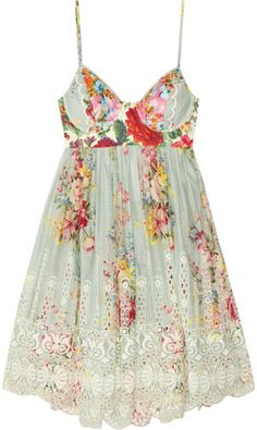 Zimmermann Green Sundance Embroidered Cotton Dress