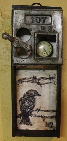 Kathy Moore Assemblage Artist -- Its Five O'clock Somewhere, part of Junk Drawer. - Kathy Moore Assemblage Artist — Its Five O'clock Somewhere, part of Junk Drawer series. Collages, Collage Art, Found Object Art, Found Art, Encaustic Painting, Assemblage Art, Recycled Art, Box Art, Altered Art