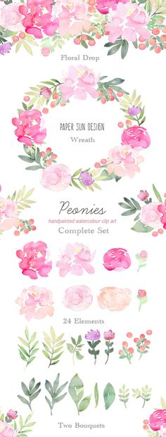 Hand Painted Watercolour Clip Art Peonies by PaperSunDesign. Beautiful floral graphics, elements, bouquets, wreath, floral drop. Use these pink floral arrangements and individual elements for your wedding invites, blog images, digital scrapbooking and many other design projects.